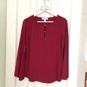 MICHEAL Micheal Kors Red Bell Sleeve Blouse